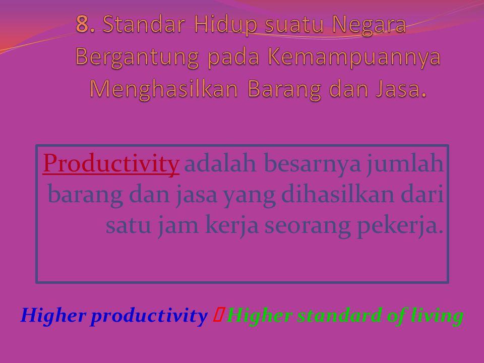 Productivity adalah besarnya jumlah barang dan jasa yang dihasilkan dari satu jam kerja seorang pekerja.