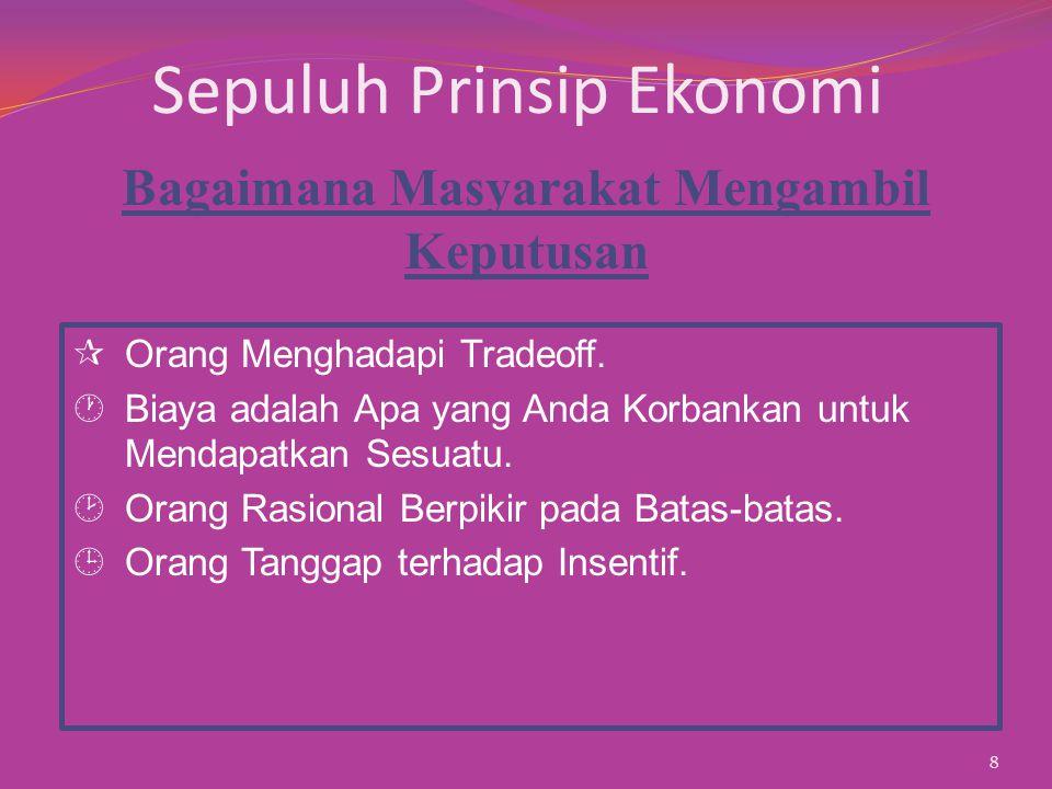 Sepuluh Prinsip Ekonomi ¶Orang Menghadapi Tradeoff.