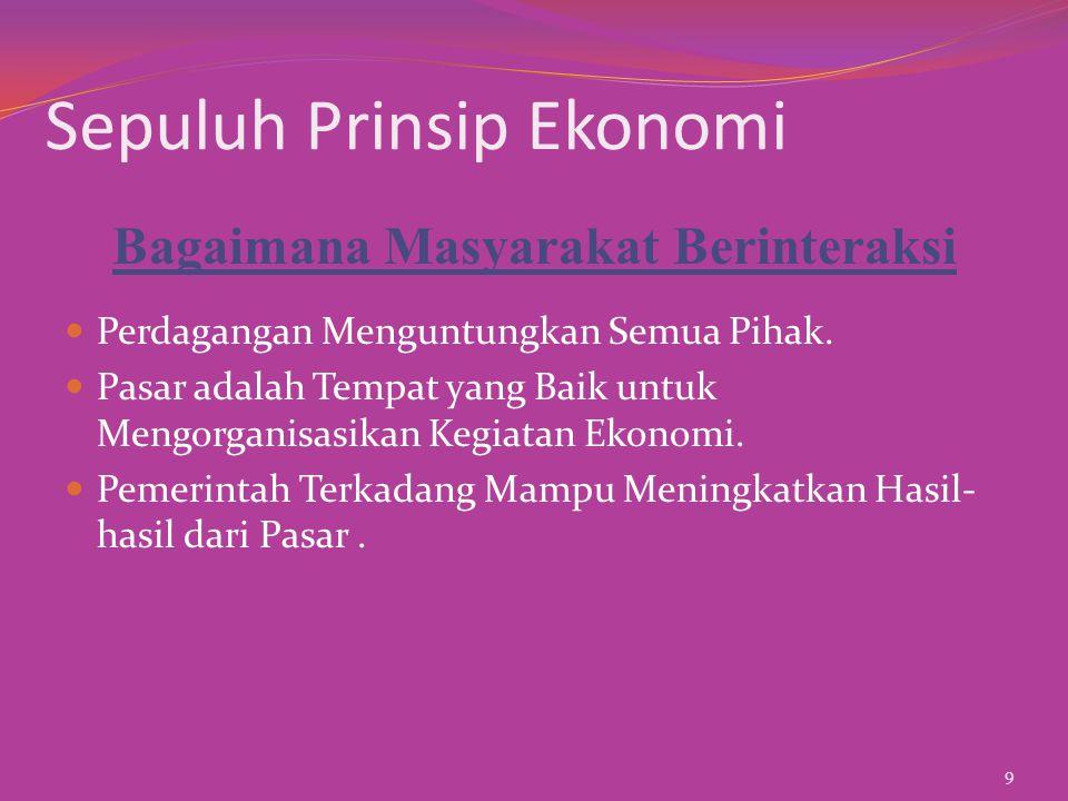 Sepuluh Prinsip Ekonomi ½Standar Hidup suatu Negara Bergantung pada Kemampuannya Menghasilkan Barang dan Jasa.