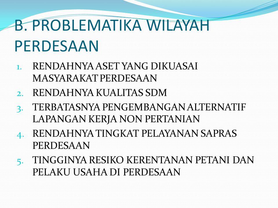 B.PROBLEMATIKA WILAYAH PERDESAAN 1. RENDAHNYA ASET YANG DIKUASAI MASYARAKAT PERDESAAN 2.