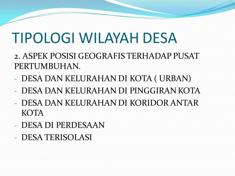TIPOLOGI WILAYAH DESA 2. ASPEK POSISI GEOGRAFIS TERHADAP PUSAT PERTUMBUHAN. - DESA DAN KELURAHAN DI KOTA ( URBAN) - DESA DAN KELURAHAN DI PINGGIRAN KO