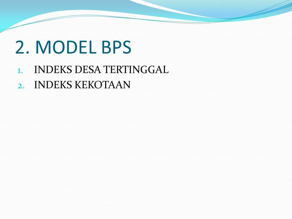 2. MODEL BPS 1. INDEKS DESA TERTINGGAL 2. INDEKS KEKOTAAN