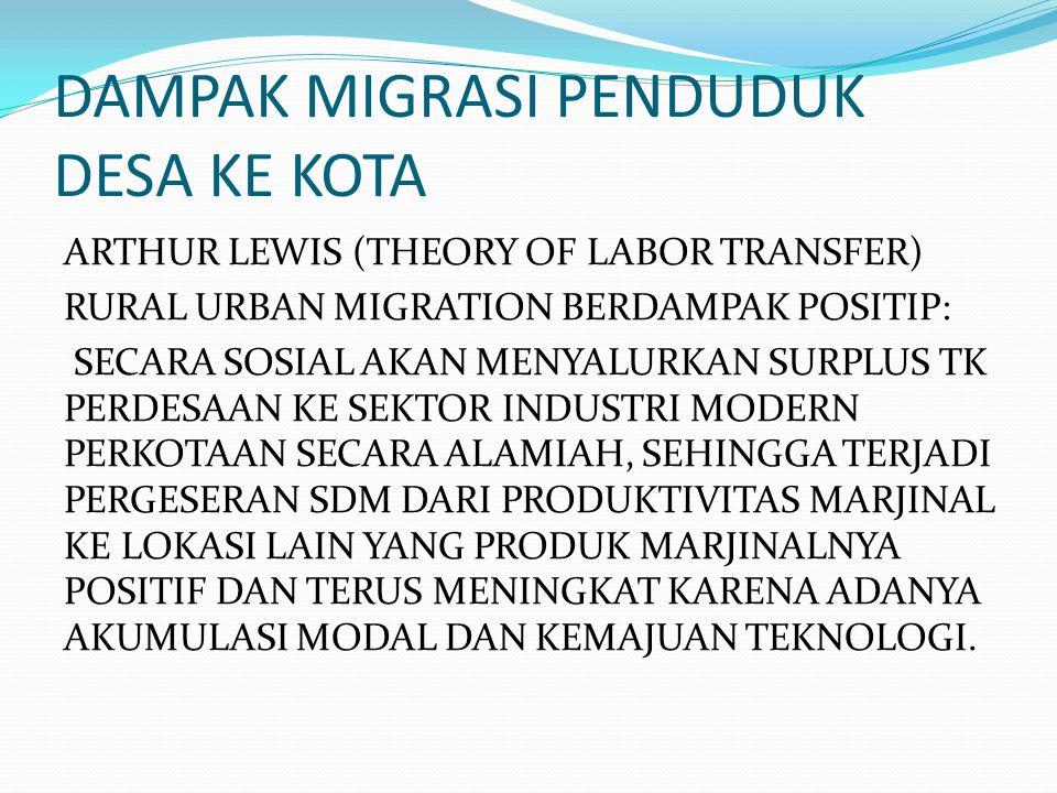 DAMPAK MIGRASI PENDUDUK DESA KE KOTA ARTHUR LEWIS (THEORY OF LABOR TRANSFER) RURAL URBAN MIGRATION BERDAMPAK POSITIP: SECARA SOSIAL AKAN MENYALURKAN S