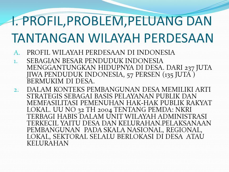 I. PROFIL,PROBLEM,PELUANG DAN TANTANGAN WILAYAH PERDESAAN A. PROFIL WILAYAH PERDESAAN DI INDONESIA 1. SEBAGIAN BESAR PENDUDUK INDONESIA MENGGANTUNGKAN