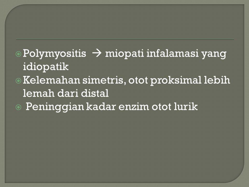 Enzim lain yang juga bisa meningkat :  Lactic dehydrogenase  Aspartate aminotransferase  Alanine aminotransferase  Aldolase– Dalam praktek.