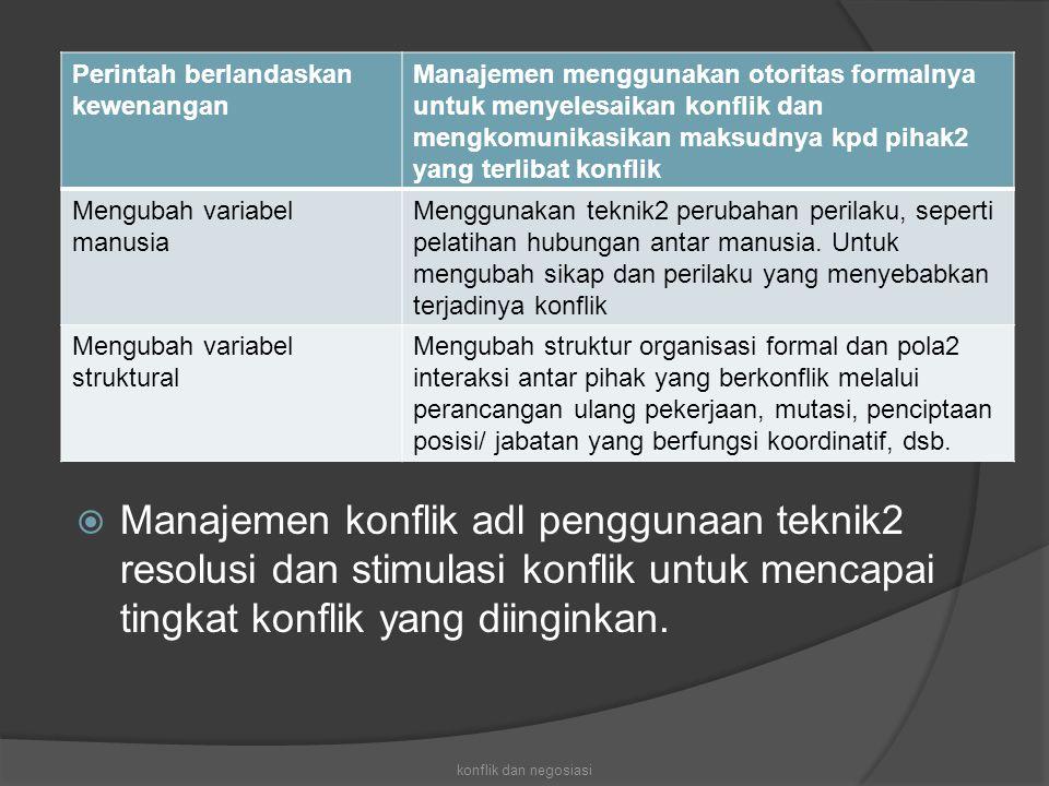  Manajemen konflik adl penggunaan teknik2 resolusi dan stimulasi konflik untuk mencapai tingkat konflik yang diinginkan. konflik dan negosiasi Perint