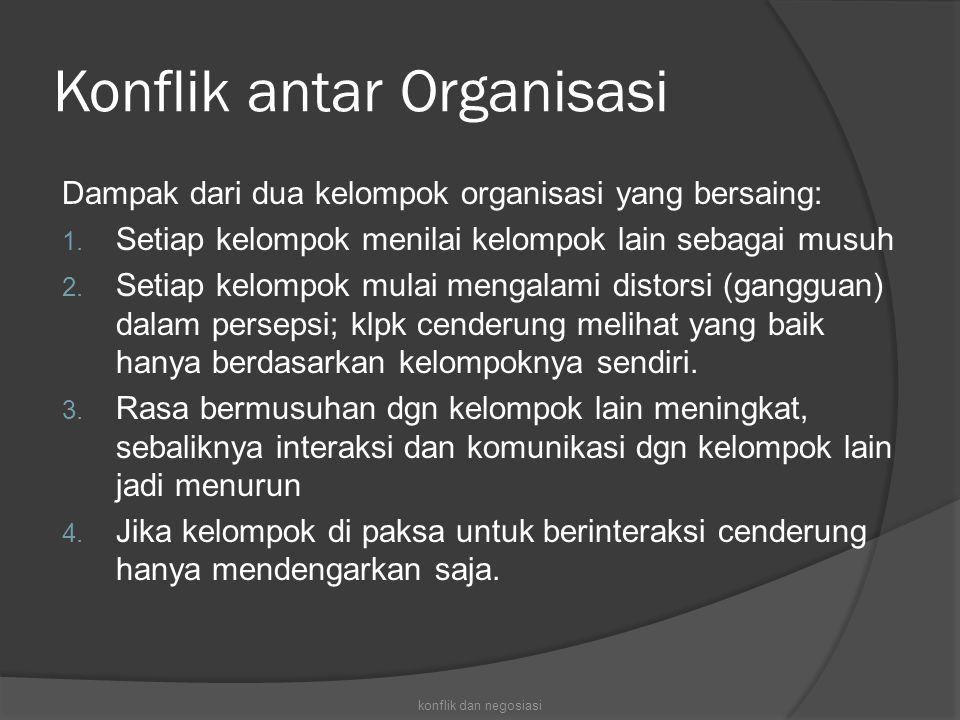 Konflik antar Organisasi Dampak dari dua kelompok organisasi yang bersaing: 1. Setiap kelompok menilai kelompok lain sebagai musuh 2. Setiap kelompok