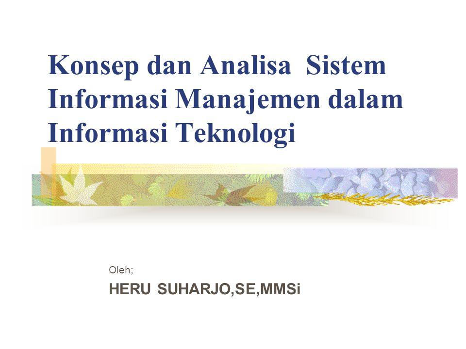 Konsep dan Analisa Sistem Informasi Manajemen dalam Informasi Teknologi Oleh; HERU SUHARJO,SE,MMSi