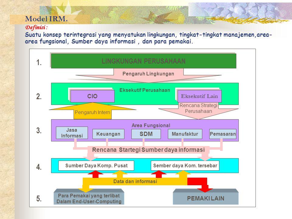 Model IRM. Definisi : Suatu konsep terintegrasi yang menyatukan lingkungan, tingkat-tingkat manajemen,area- area fungsional, Sumber daya informasi, da