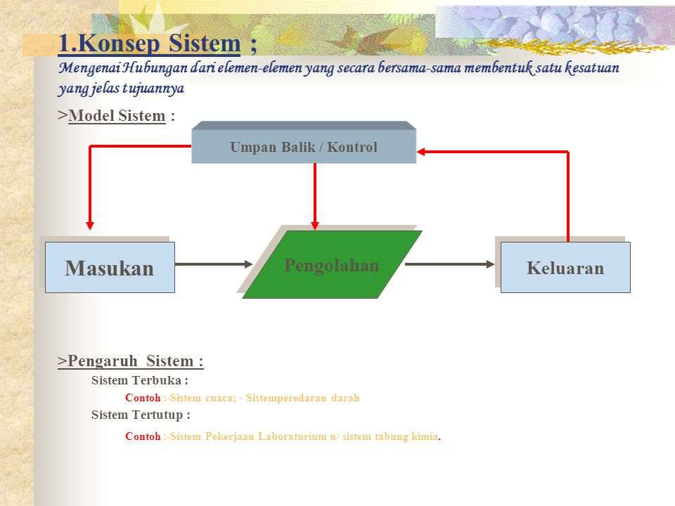 1.Konsep Sistem ; Mengenai Hubungan dari elemen-elemen yang secara bersama-sama membentuk satu kesatuan yang jelas tujuannya > Model Sistem : >Pengaru