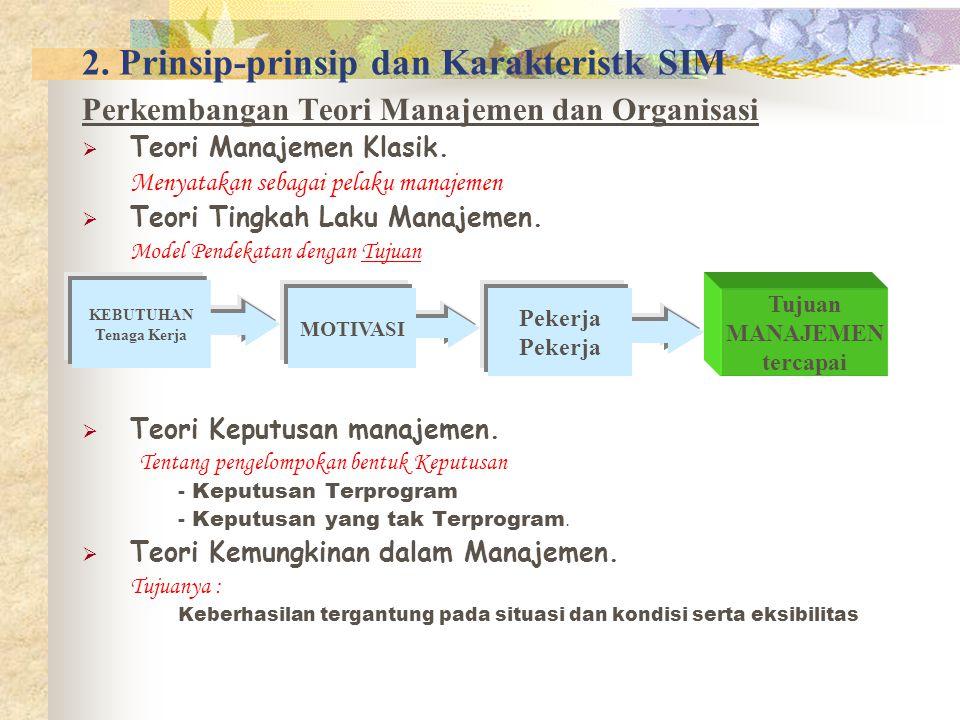 2. Prinsip-prinsip dan Karakteristk SIM Perkembangan Teori Manajemen dan Organisasi  Teori Manajemen Klasik. Menyatakan sebagai pelaku manajemen  Te