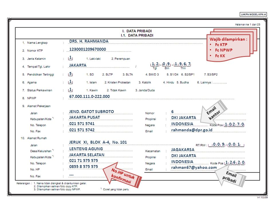 Wajib dilampirkan : Fc KTP Fc NPWP Fc KK DRS. H. RAHMANDA JAKARTA 67.000.111.0-222.000 JEND. GATOT SUBROTO 1230001209670000 JAKARTA PUSAT 021 571 5741