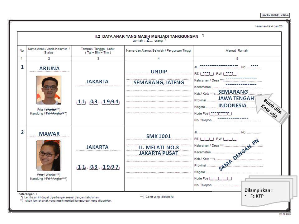 ARJUNA 1 JAKARTA UNDIP 1 1 0 3 1 9 9 4 SAMA DENGAN PN SEMARANG JAWA TENGAH INDONESIA ------------------------- ----------------- ---------- Dilampirka