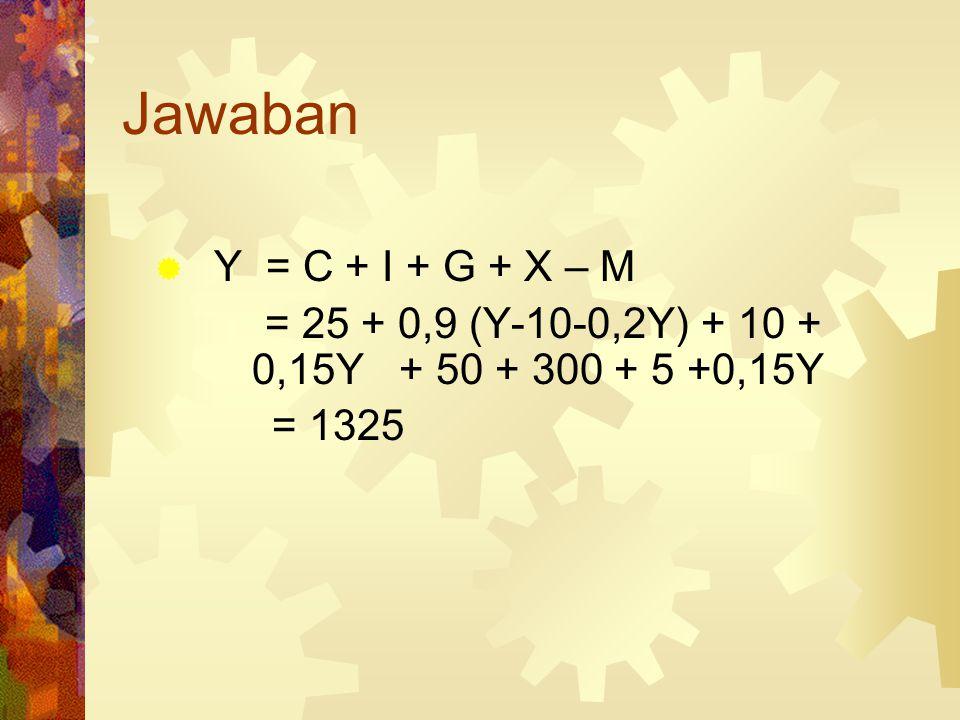 Contoh  C = 25+ 0,5Yd  I = 10 + 0,15Y  G = 300; Tx = 10 + 0,2Y  M = 5 + 0,15Y  X = 50  Yeq = ?