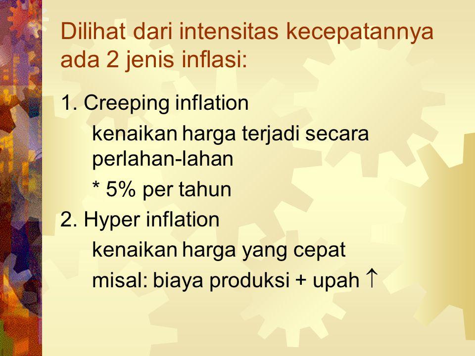 Menurut unsur penyebarannya ada 3 jenis inflasi 1. Excess demand inflation: terjadi karena permintaan yang berlebihan aggregate demand > supply 2. Bot