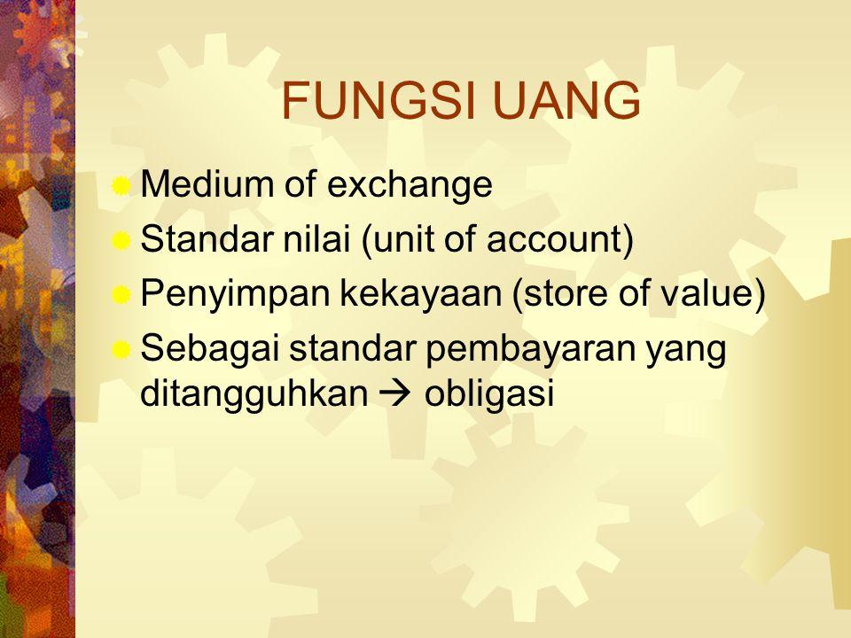  Dalam arti luas: JUB = K + G + Quasy Money Ms = K + G + T  = M2  Near money  yg mendekati uang  obligasi  Ada juga yg menggantikan near money l