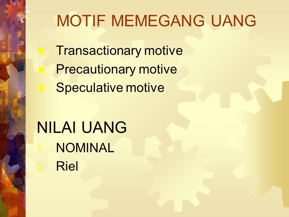 FUNGSI UANG  Medium of exchange  Standar nilai (unit of account)  Penyimpan kekayaan (store of value)  Sebagai standar pembayaran yang ditangguhka