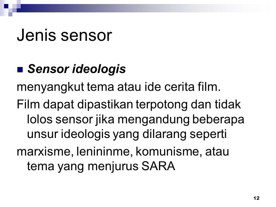 12 Jenis sensor Sensor ideologis menyangkut tema atau ide cerita film. Film dapat dipastikan terpotong dan tidak lolos sensor jika mengandung beberapa