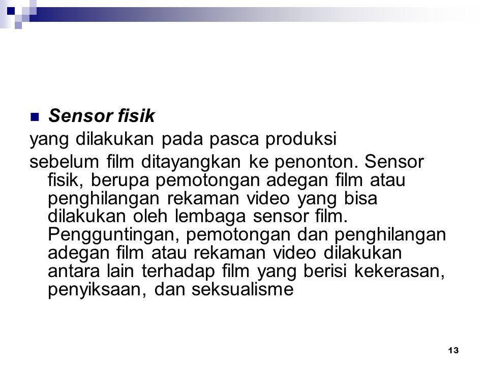 13 Sensor fisik yang dilakukan pada pasca produksi sebelum film ditayangkan ke penonton. Sensor fisik, berupa pemotongan adegan film atau penghilangan