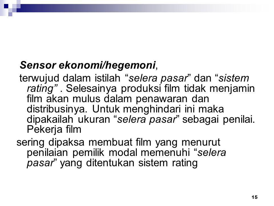 """15 Sensor ekonomi/hegemoni, terwujud dalam istilah """"selera pasar"""" dan """"sistem rating"""". Selesainya produksi film tidak menjamin film akan mulus dalam p"""