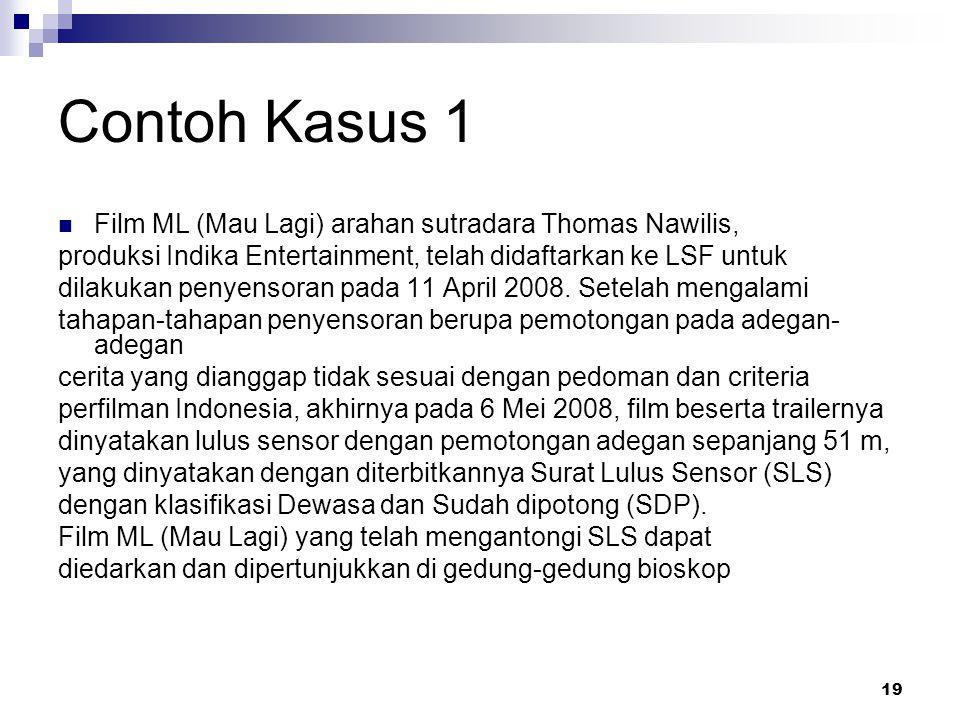 19 Contoh Kasus 1 Film ML (Mau Lagi) arahan sutradara Thomas Nawilis, produksi Indika Entertainment, telah didaftarkan ke LSF untuk dilakukan penyenso