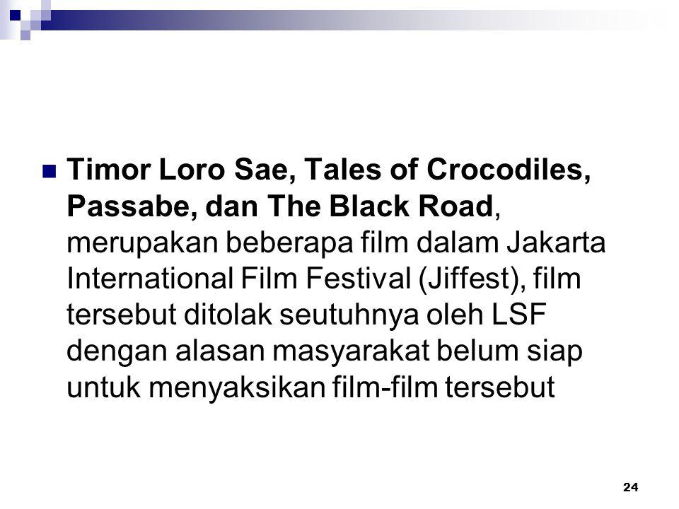 24 Timor Loro Sae, Tales of Crocodiles, Passabe, dan The Black Road, merupakan beberapa film dalam Jakarta International Film Festival (Jiffest), film tersebut ditolak seutuhnya oleh LSF dengan alasan masyarakat belum siap untuk menyaksikan film-film tersebut