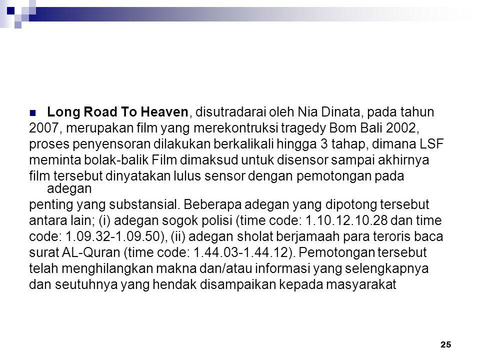 25 Long Road To Heaven, disutradarai oleh Nia Dinata, pada tahun 2007, merupakan film yang merekontruksi tragedy Bom Bali 2002, proses penyensoran dil
