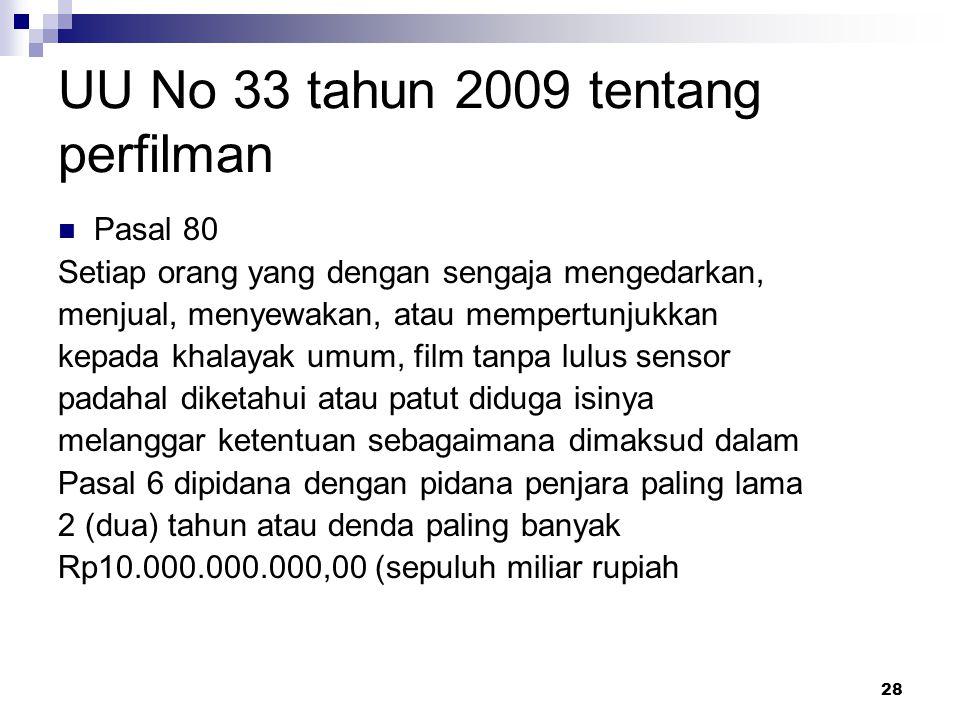 28 UU No 33 tahun 2009 tentang perfilman Pasal 80 Setiap orang yang dengan sengaja mengedarkan, menjual, menyewakan, atau mempertunjukkan kepada khala
