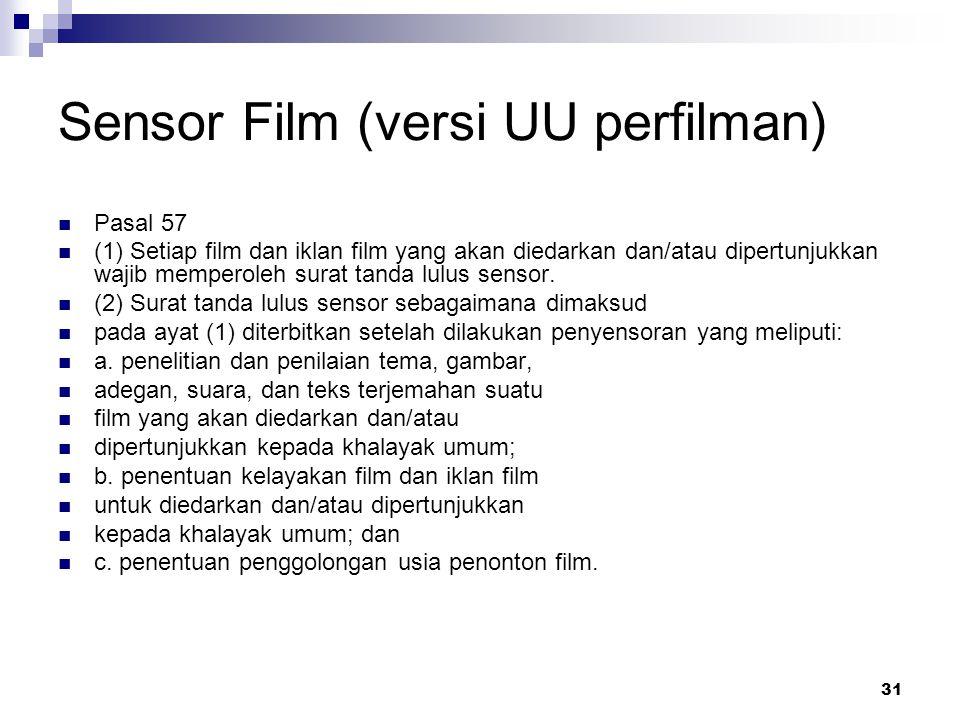 31 Sensor Film (versi UU perfilman) Pasal 57 (1) Setiap film dan iklan film yang akan diedarkan dan/atau dipertunjukkan wajib memperoleh surat tanda l