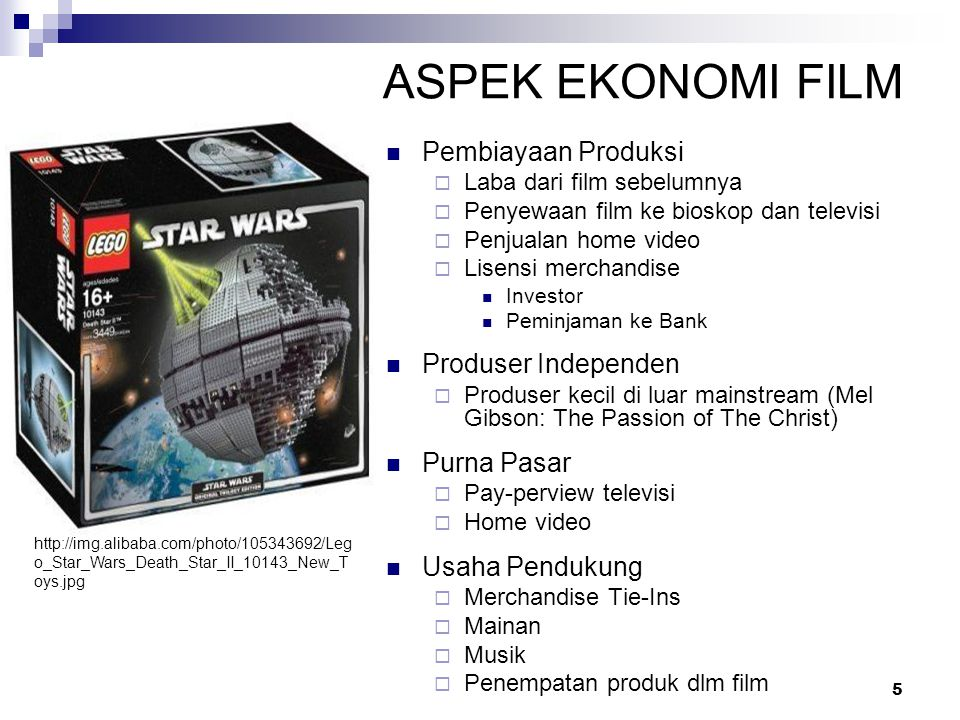 5 ASPEK EKONOMI FILM Pembiayaan Produksi  Laba dari film sebelumnya  Penyewaan film ke bioskop dan televisi  Penjualan home video  Lisensi merchan