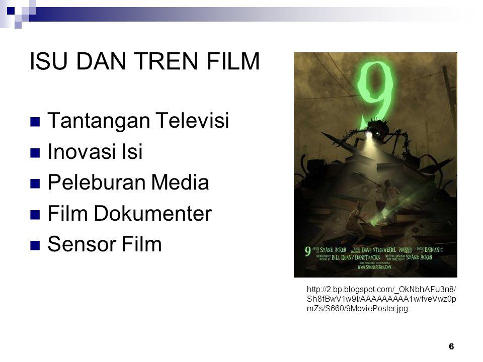 6 ISU DAN TREN FILM Tantangan Televisi Inovasi Isi Peleburan Media Film Dokumenter Sensor Film http://2.bp.blogspot.com/_OkNbhAFu3n8/ Sh8fBwV1w9I/AAAA