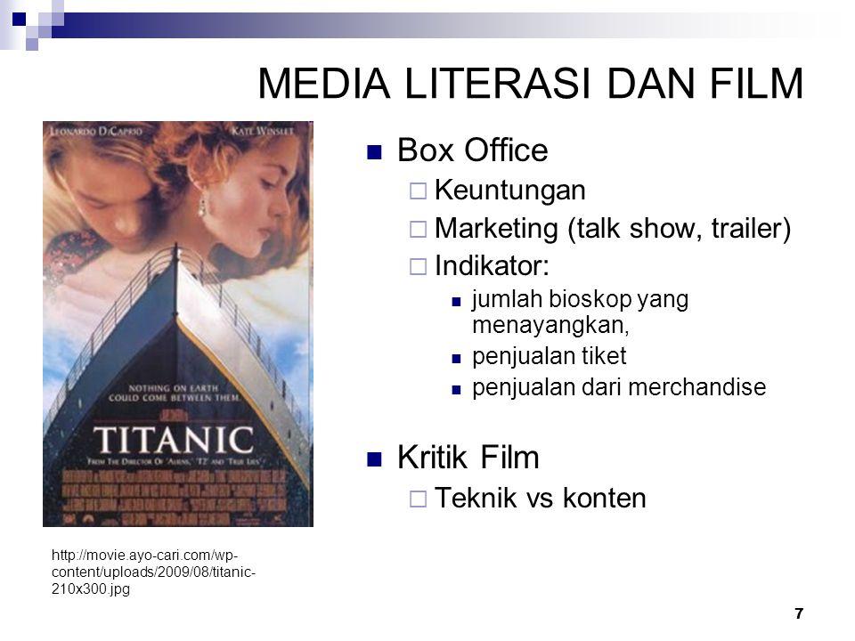 7 MEDIA LITERASI DAN FILM Box Office  Keuntungan  Marketing (talk show, trailer)  Indikator: jumlah bioskop yang menayangkan, penjualan tiket penju