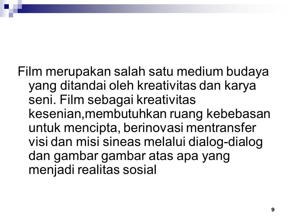 9 Film merupakan salah satu medium budaya yang ditandai oleh kreativitas dan karya seni. Film sebagai kreativitas kesenian,membutuhkan ruang kebebasan