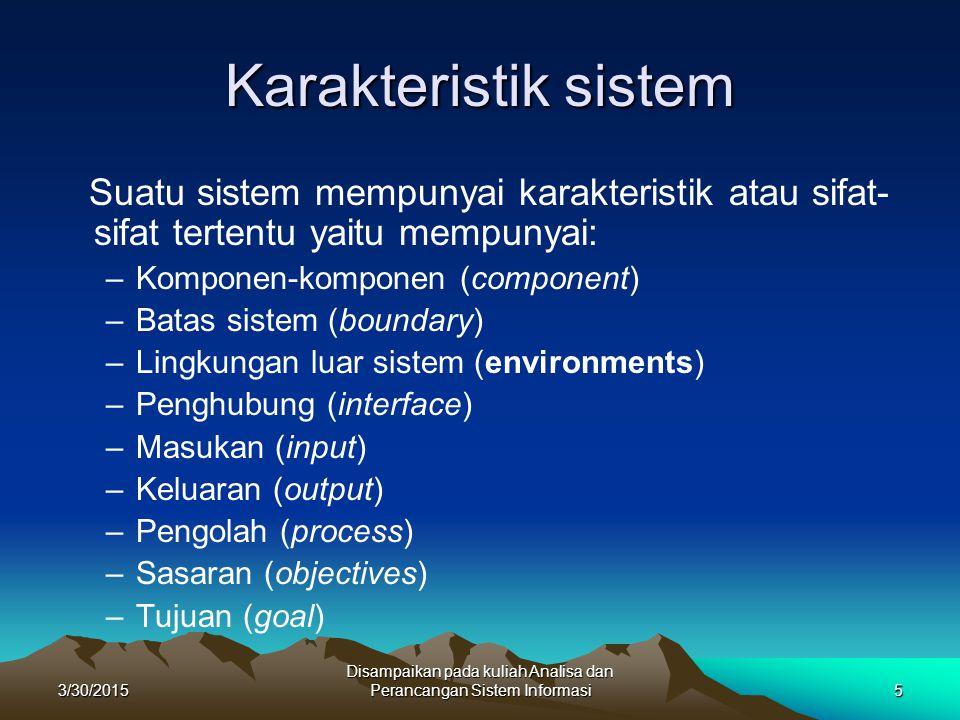 3/30/2015 Disampaikan pada kuliah Analisa dan Perancangan Sistem Informasi5 Karakteristik sistem Suatu sistem mempunyai karakteristik atau sifat- sifa