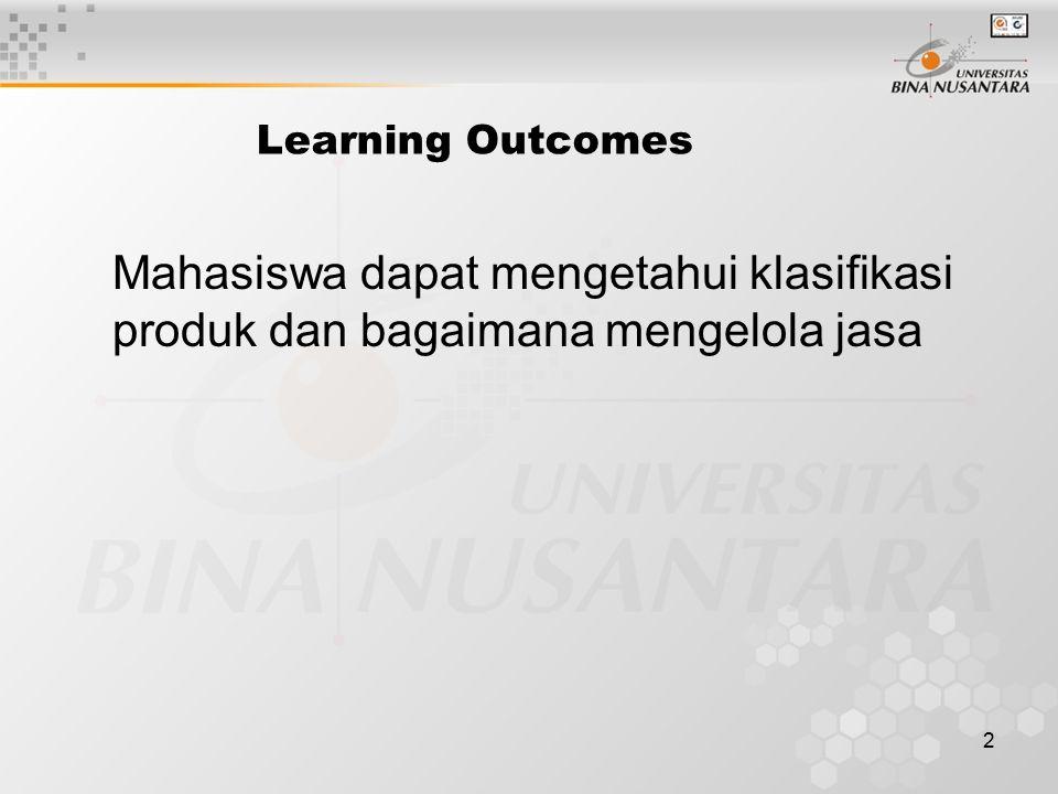 2 Learning Outcomes Mahasiswa dapat mengetahui klasifikasi produk dan bagaimana mengelola jasa