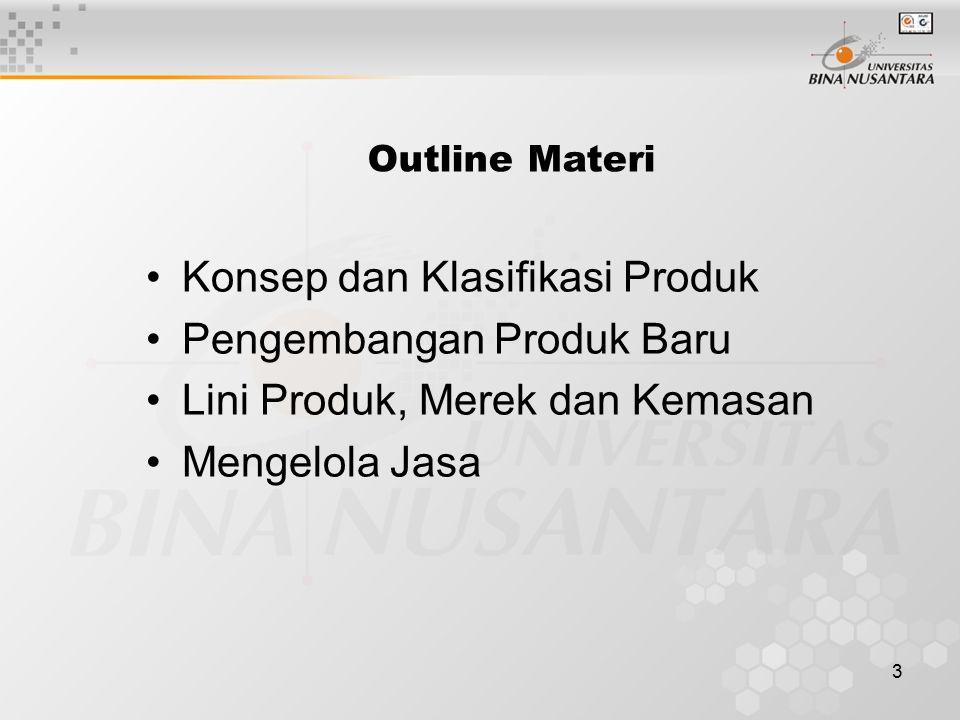 3 Outline Materi Konsep dan Klasifikasi Produk Pengembangan Produk Baru Lini Produk, Merek dan Kemasan Mengelola Jasa
