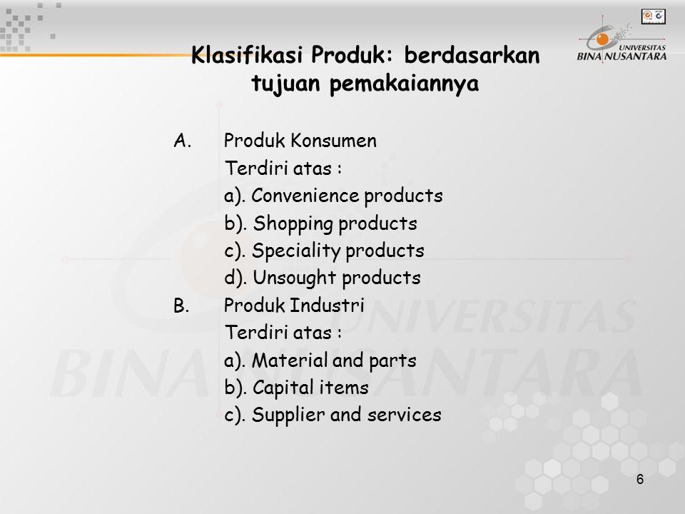 6 Klasifikasi Produk: berdasarkan tujuan pemakaiannya A.Produk Konsumen Terdiri atas : a). Convenience products b). Shopping products c). Speciality p
