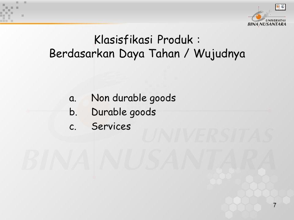 7 Klasisfikasi Produk : Berdasarkan Daya Tahan / Wujudnya a.Non durable goods b.Durable goods c.Services