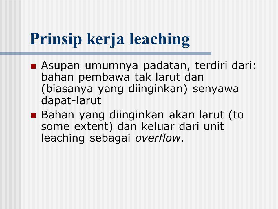 Prinsip kerja leaching Asupan umumnya padatan, terdiri dari: bahan pembawa tak larut dan (biasanya yang diinginkan) senyawa dapat-larut Bahan yang dii