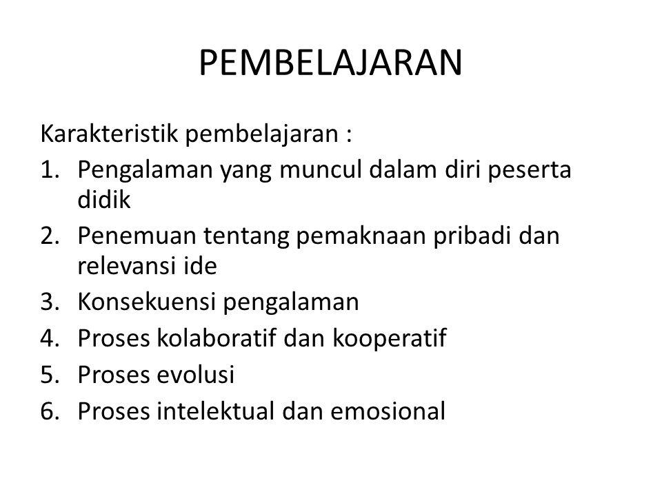 PEMBELAJARAN Karakteristik pembelajaran : 1.Pengalaman yang muncul dalam diri peserta didik 2.Penemuan tentang pemaknaan pribadi dan relevansi ide 3.Konsekuensi pengalaman 4.Proses kolaboratif dan kooperatif 5.Proses evolusi 6.Proses intelektual dan emosional