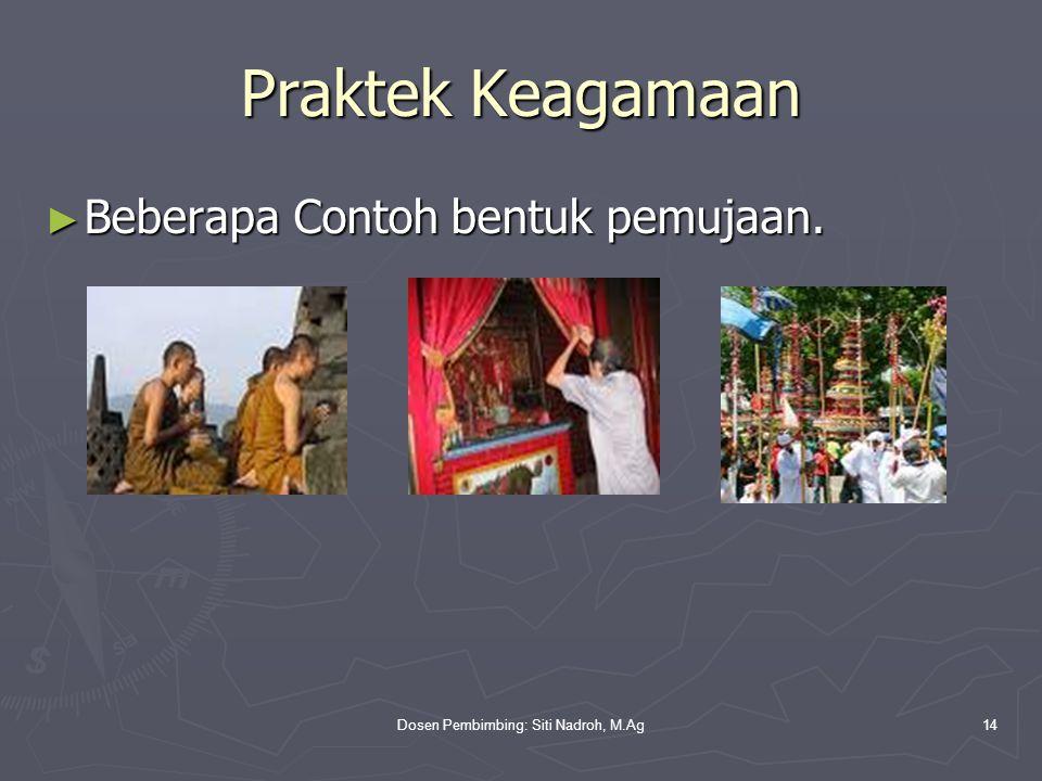 Dosen Pembimbing: Siti Nadroh, M.Ag14 Praktek Keagamaan ► Beberapa Contoh bentuk pemujaan.