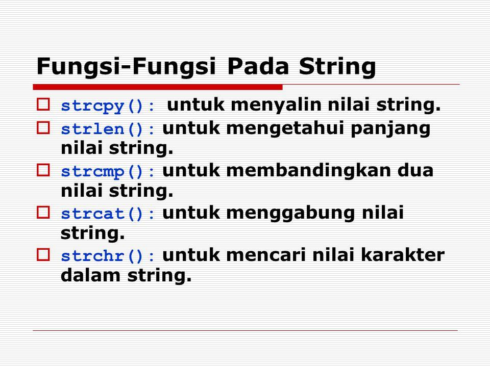 Fungsi-Fungsi Pada String  strcpy(): untuk menyalin nilai string.