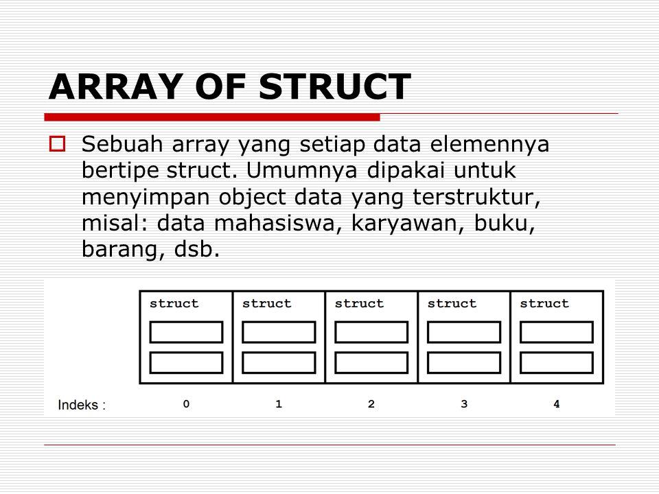 ARRAY OF STRUCT  Sebuah array yang setiap data elemennya bertipe struct.