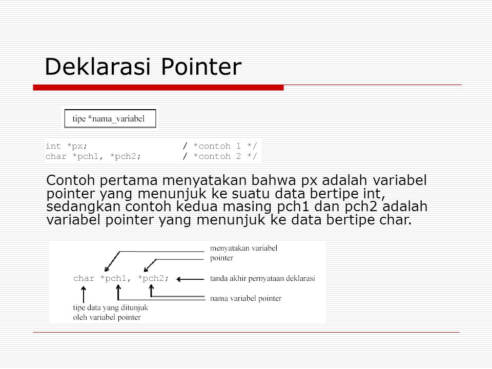 Deklarasi Pointer Contoh pertama menyatakan bahwa px adalah variabel pointer yang menunjuk ke suatu data bertipe int, sedangkan contoh kedua masing pch1 dan pch2 adalah variabel pointer yang menunjuk ke data bertipe char.