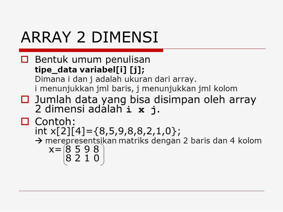 Array Berdimensi Banyak  Bentuk umum deklarasi array dimensi satu: tipe_data nama_var[i][j]..[n]; dimana i, j, n adalah ukuran dari array.