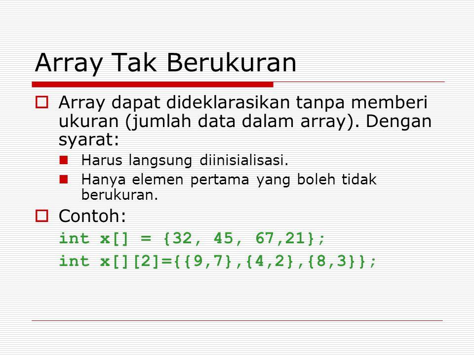 Output Alamat x = 0012FF78 Isi px = 0012FF78 Isi x = 87 Nilai yang ditunjuk oleh px = 87 Nilai y = 87 Pada program di atas, dua pernyataan px = &x; y = *px; sebenarnya dapat digantikan dengan sebuah pernyataan berupa y = x; Seandainya pada program di atas tidak terdapat pernyataan px = &x; namun terdapat pernyataan y = *px; maka y tidaklah berisi nilai x, sebab px belum diatur agar menunjuk ke variabel x.