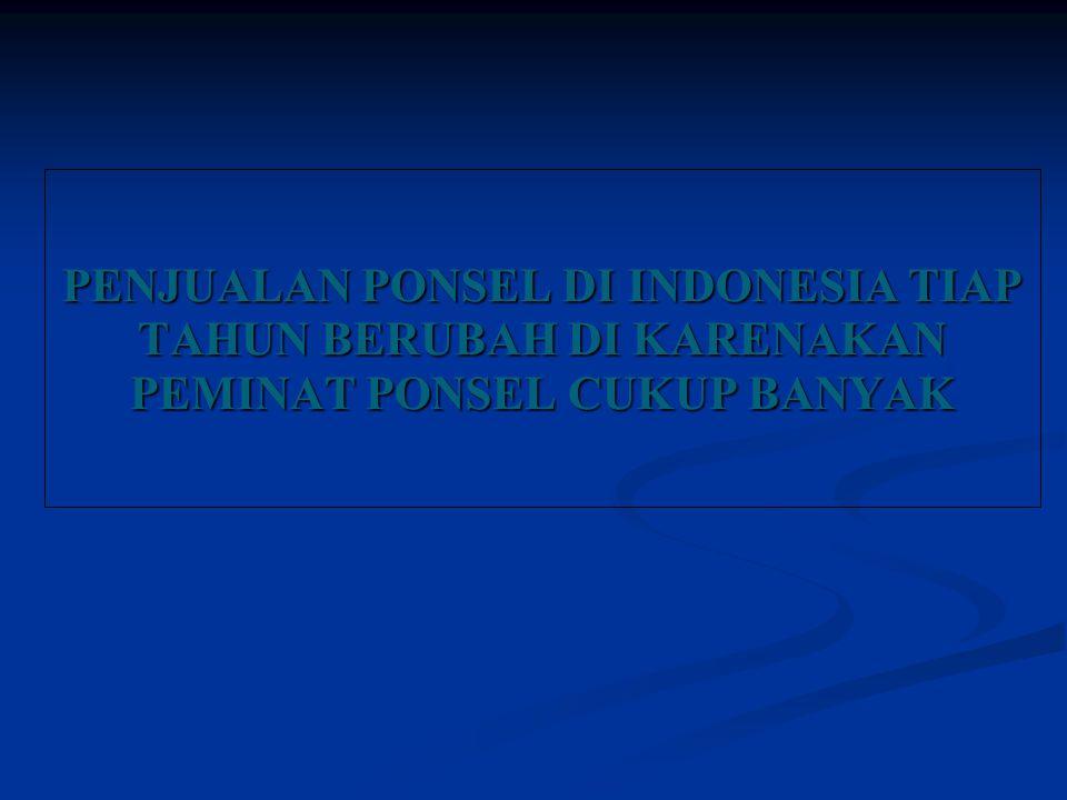 PENJUALAN PONSEL DI INDONESIA TIAP TAHUN BERUBAH DI KARENAKAN PEMINAT PONSEL CUKUP BANYAK
