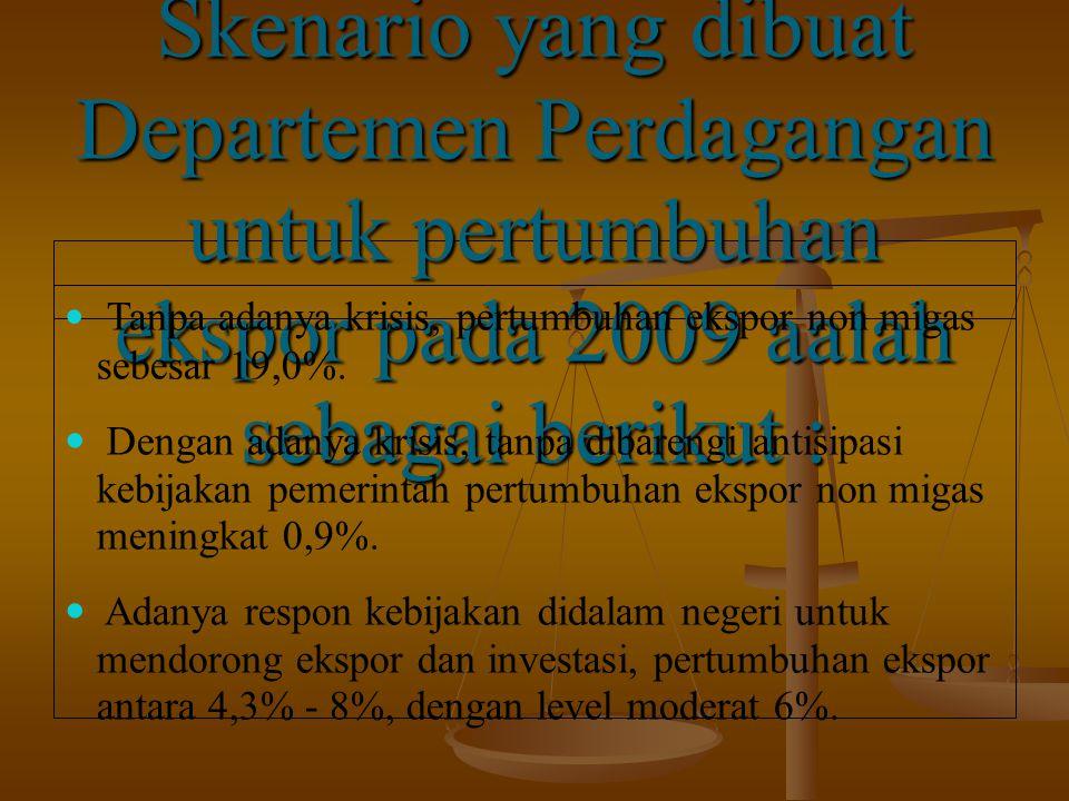 Skenario yang dibuat Departemen Perdagangan untuk pertumbuhan ekspor pada 2009 aalah sebagai berikut : Tanpa adanya krisis, pertumbuhan ekspor non migas sebesar 19,0%.