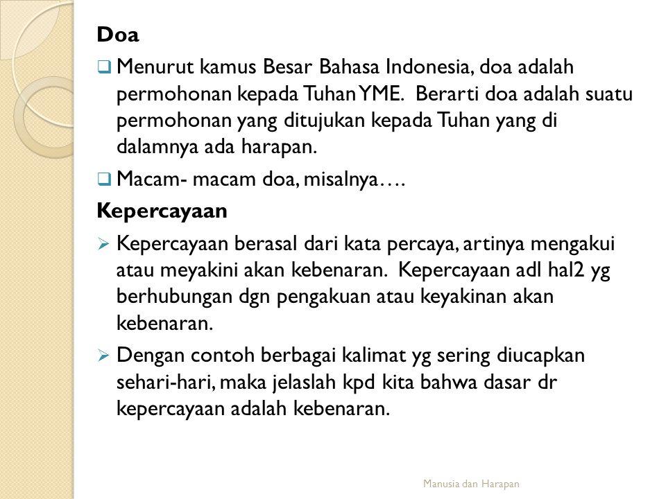 Doa  Menurut kamus Besar Bahasa Indonesia, doa adalah permohonan kepada Tuhan YME. Berarti doa adalah suatu permohonan yang ditujukan kepada Tuhan ya