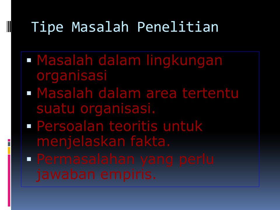 Tipe Masalah Penelitian  Masalah dalam lingkungan organisasi  Masalah dalam area tertentu suatu organisasi.  Persoalan teoritis untuk menjelaskan f